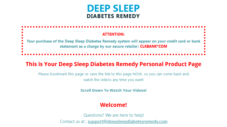 Deep Sleep Diabetes Remedy dashboard